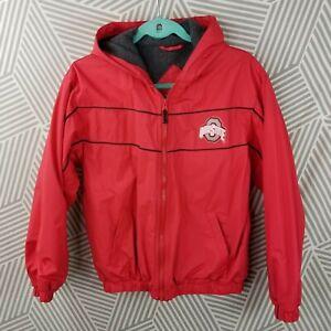 Ohio State Buckeyes Winter Coat Youth Boys 10-12 Large Raincoat PVC fleece lined