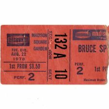 Bruce Springsteen Concert Ticket Stub New York Ny 8/22/78 Madison Square Garden