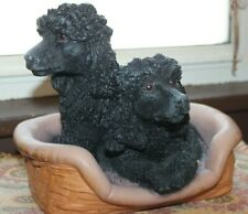 Vintage 1990 Universal Statuary Black Poodles In A Basket   USA  TLC