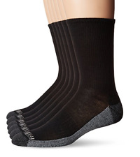 Fruit of the Loom Socks Men's Crew 6-Pack Black Shoe Size 6-12 Large L NEW