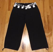 EUC Lululemon Crops Cropped Black Pants Astro fold down Drawstring calfs