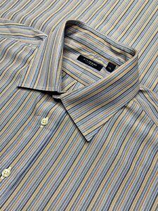 Mens 17 LONG Burberry London Blue Multi Color Stripe Cotton Dress Shirt USA