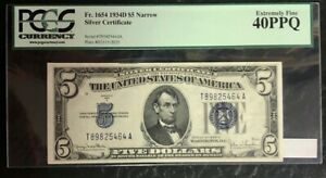 1934-D $5 SILVER CERTIFICATE, NARROW, FR-1654, PCGS EXTREMELY FINE 40 PPQ