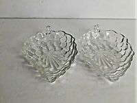 VTG 2  Snack Bowl Dish Raised Grape Fruit & Leaf Shaped Clear Glass Candy Nut