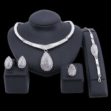 Fashion Silver Plated Crystal Pendant Necklace Earring Ring Bracelet Jewelry Set