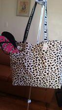 NEW VICTORIA`s SECRET PINK Natural Leopard Canvas Tote Bag XL&LEOPARD SLIPPER  L