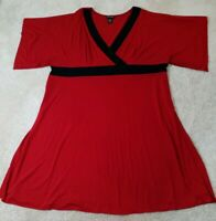 Lane Bryant~Woman Plus Size 26/28 3X~Red/Black Dress Empire Waist Stretch.