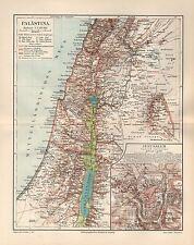 Palästina mit Jerusalem Israel  Umgebung Beirut Damaskus Landkarte von 1896