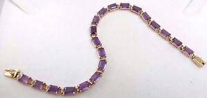 "14k Gold 10tcw Emerald Cut Amethyst Tennis Bracelet 7.25"" Nice Matching Stones!"