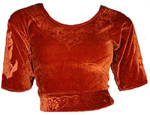 Caramel Samt Top Choli Oberteil für indischer Sari Bollywood Gr. S bis 3XL