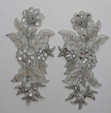Handmade Venise Lace Sequins Applique Trim Motif  M Silver #13