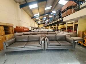 Ex-display Massimo and modern grey leather 3+2 seater sofas