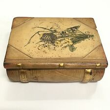 Vintage Antique BORGHESE Pocket Book Trinket Box Ceramic Chalkware OLD
