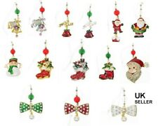 Mix Pack de 12 arbre de Noël Stocking pendaisons Broche Rouge Strass épingle Nouveau UK