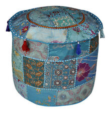 "18""Ethnic Patchwork Cotton Pouf Cover Indian Handmade Round Beige Ottoman Cover"
