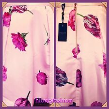✨🌸TED BAKER Oil Painting Pink Satin Tulip Floral Skirt NEW+TAGS 12 Ted 3 RARE🎁