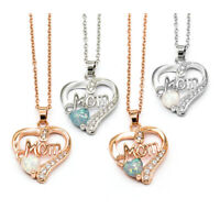 Heart Shape Crystal MOM Pendant Chain Necklace Women Jewelry Mother's Day Gift