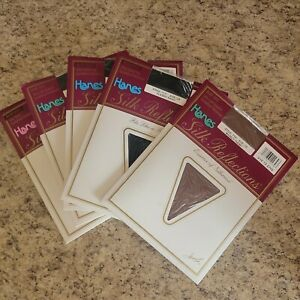 5 Pair Hanes Silk Reflections Stockings Vintage 1988 Size CD Style