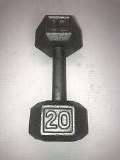 20 Lb Dumbbell Pound Cast Iron Hex metal Fitness Gear Strength vtg weight