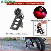 Side Mount Tag License Plate Holder Bracket LED Taillight Stop Light For Harley