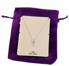 925 Silver Cross Christian Necklace (Gift Pouch) Tiny Women Pendant Chain