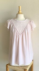 Rebecca Taylor Women's Short Sleeve Silk Geo Embroidered Blouse in Pink Size 12