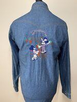 Disney Mickey & Minnie Mouse Custom Embroidered DONALDSON Unique Demin Shirt XL