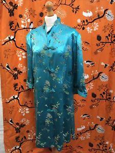 Vintage ❤ Turquiose Kimono brocade oriental coat wrap  Size 10/12 ❤ STUNNING