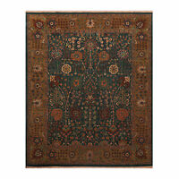 "8'1"" x 10' Hand Knotted Wool Agra 150 KPSI Vegetable dyes Oriental Area Rug Teal"