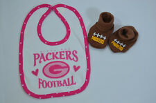 NFL FOOTBALL GREEN BAY PACKERS  PINK Baby Bib + Bootie Shoes 0-6mnths NEW