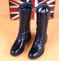 Chic Military Lace Up Men's pu Leather Shoes Combat Riding Boots Knee High Boots