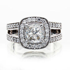 GIA Certified Cushion Cut Diamond Engagement Halo Ring 2.10 CTW Split Shank