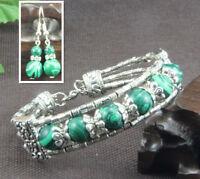 Ladies Bangle Earrings Malachite Tibetan Silver Bracelet Earrings Set