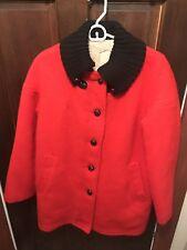 Vintage Hudson Bay Wool Blanket Coat Parka Jacket Size 12 Made Canada Red HBC