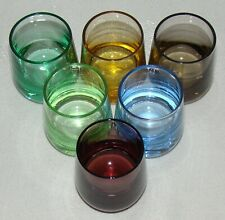 New listing Set of 6 Mid Century Multi Colored Stemless Shot / Apertif Glasses