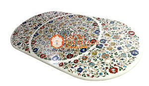 6'x3' White Marble Big Dining Conference Table Top Multi Inlay Floral Art E1533