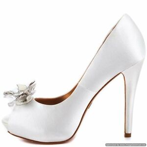 "BADGLEY MISCHKA "" Cleone wedding bridal satin open toe heel shoes w/flower NIB"