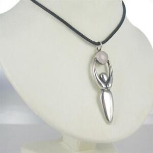Sterling Silver LARGE Spirit Healer Pendant w/ Gemstone Leather Cord Necklace