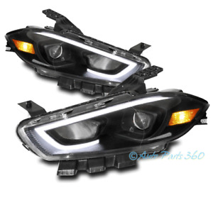 For 13 14 15 16 Dodge Dart LED Bar Halogen Projector Headlights Lamp Black LH+RH