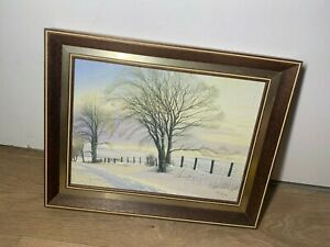 Robert Ritchie Winter Trees Snow Scene Acrylic Painting- Oil On Board- Framed