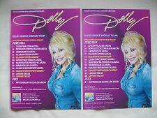 DOLLY PARTON Live Blue Smoke World Tour 2014 UK Arena Tour Promo flyers x 2