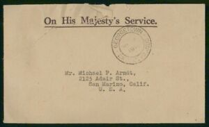 Mayfairstamps Cayman Islands 1946 OHMS Georgetown to San Marino CA Cover wwo_501