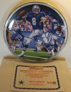 """TROY AIKMAN - 1994 Sports Impressions 8.5"""" Limited Ed Plate #416/7500 Cowboys"""