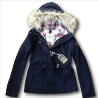 NWT Hollister by Abercrombie Wool Anorak Jacket Plaid-Lined Coat Navy XS/S