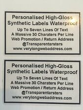 100 CLEAR LABELS PERSONALISED PRINTED BLACK STICKERS 60mm X 36mm