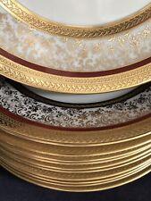 "Set 12 Antique Hutschenreuther Raised Gold Encrusted Empire 8"" Plates Excellent"