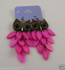 Claires sensitive solutions brassy gold tone & bright pink earrings Owls owl