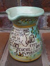 "Majolica Art Pottery SANTA FE PUENTE Casa De Botin Pitcher Madrid Spain 4+"" Tall"