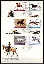 Pferde, Pferdesport. 3 FDC. Polen 1967