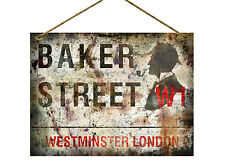 "BAKER STREET SHERLOCK HOLMES  VINTAGE / DISTRESSED STYLE  METAL 8""X6"" SIGN"